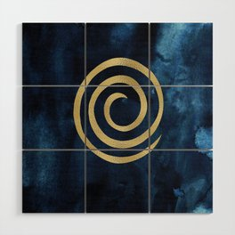Infinity Navy Blue And Gold Abstract Modern Art Painting Wood Wall Art