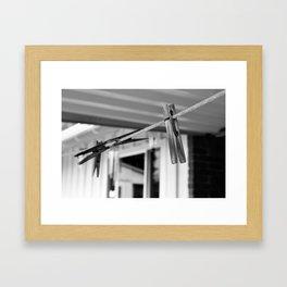 Clothespins on a Line Framed Art Print