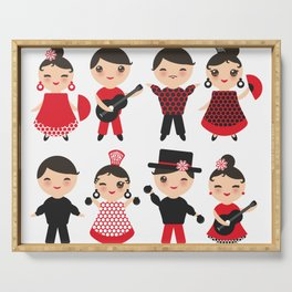 Spanish flamenco dancer. Kawaii cute face with pink cheeks and winking eyes. Gipsy Serving Tray