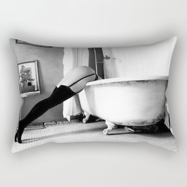Head Over Heals - Female in Stockings in Vintage Parisian Bathtub black and white photography - photographs wall decor Rectangular Pillow
