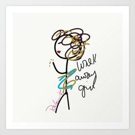 Walk Away Girl Art Print