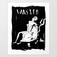 wasted rita Art Prints featuring WASTED by Olivier Carignan