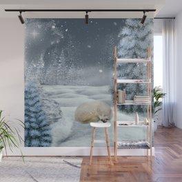 Sleeping polar fox Wall Mural