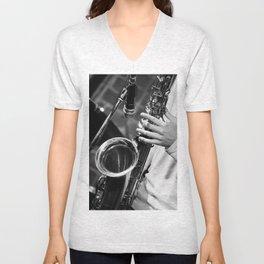 Jazz and Saxophone Unisex V-Neck