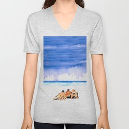 3 girls sunbathing Unisex V-Neck