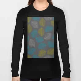 Mid Century Modern Falling Leaves Turquoise Chartreuse Gray Long Sleeve T-shirt