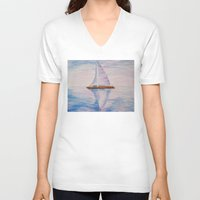 serenity V-neck T-shirts featuring Serenity by Ana Lillith Bar