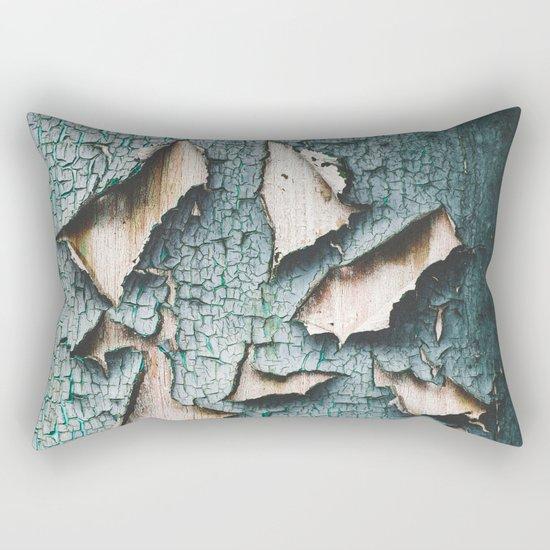 Rustic old light blue green peeling paint Rectangular Pillow