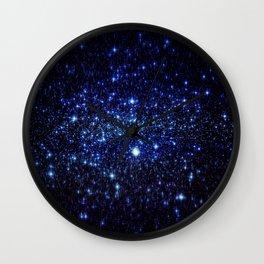 Dark Blue Stars Wall Clock