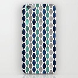 Oval Stripes Aqua and Navy iPhone Skin