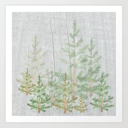 Pine forest on weathered wood Art Print