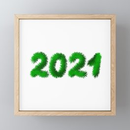 2021 numbers made of fir branches. Fur or tinsel effect.  Framed Mini Art Print