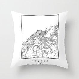 Havana Cuba Street Map Throw Pillow