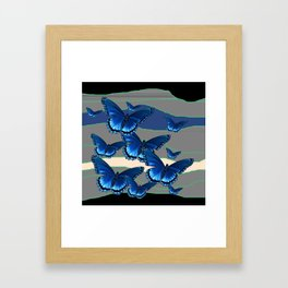 INDIGO BLUE BUTTERFLIES ON THE STORMY HORIZON Framed Art Print