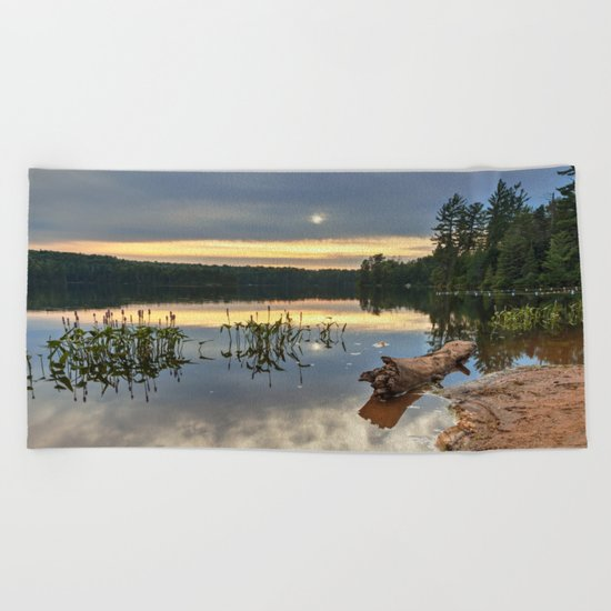 Nicks Lake Sunset Beach Towel
