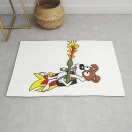 Funny dog with jetpack and flamethrower tshirt for Doglovers Rug