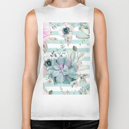 Succulents in the Garden Succulent Blue Stripes Biker Tank