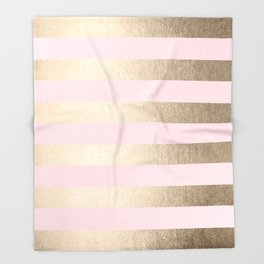 Simply Striped in White Gold Sands and Flamingo Pink Throw Blanket