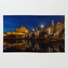 castel sant'angelo in the blue hour Rug