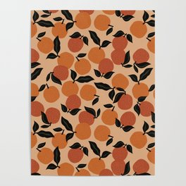 Seamless Citrus Pattern / Oranges Poster