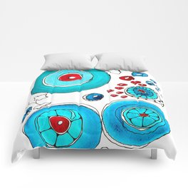 Oriental poppies vivid  Comforters