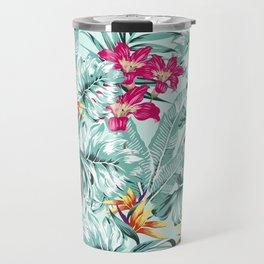Bird of Paradise Greenery Aloha Hawaiian Prints Tropical Leaves Floral Pattern Travel Mug