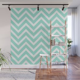 Chevron Stripes : Seafoam Green & White Wall Mural