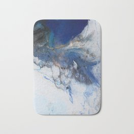 Abstract blue marble Bath Mat