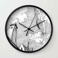 led zeppelin Wall Clocks featuring Zeppelin Overhead by Mr.Willow