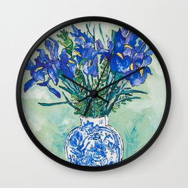 Iris Bouquet in Chinoiserie Vase on Blue and White Striped Tablecloth on Painterly Mint Green Wall Clock
