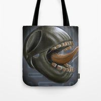 pacman Tote Bags featuring pacman by Serkan Aydin