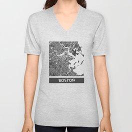 Boston map blue Unisex V-Neck