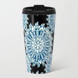 Grey-Blue and White on Black Patterned Mandalas Travel Mug