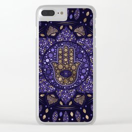 Hamsa Hand -Hand of Fatima in Lotus mandala Clear iPhone Case