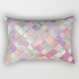 Quatrefoil Moroccan Pattern Mother of Pearl and quartz Rectangular Pillow