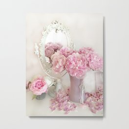Shabby Chic Pink Peonies White Mirror Romantic Cottage Prints Home Decor Metal Print