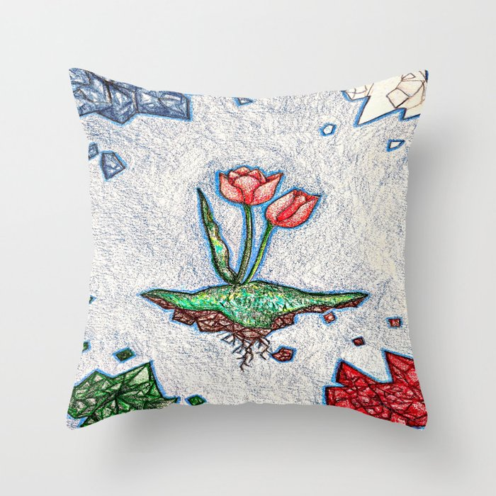 Floating Tulip Throw Pillow