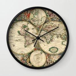 Old map of world hemispheres (enhanced) Wall Clock
