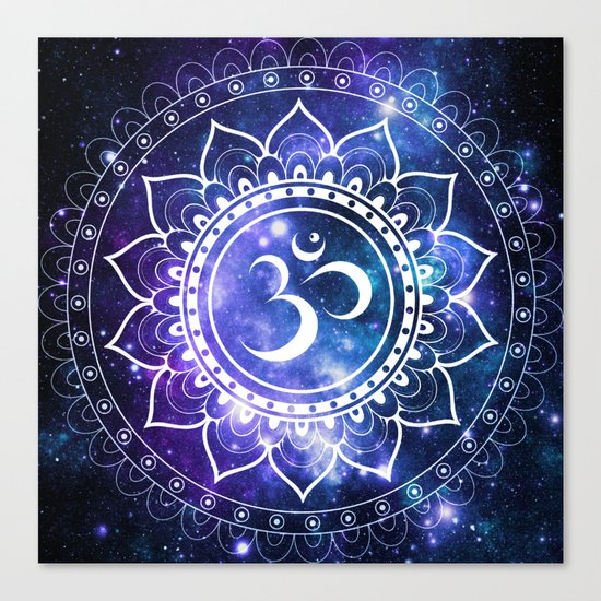 Om Mandala: Violet & Teal Galaxy Canvas Print