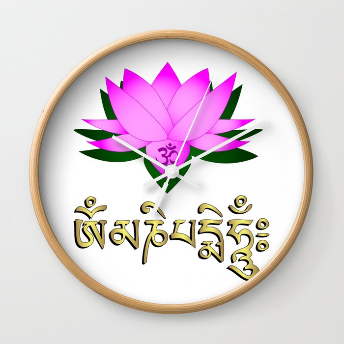 Lotus Flower Om Symbol And Mantra Om Mani Padme Hum Wall Clock By