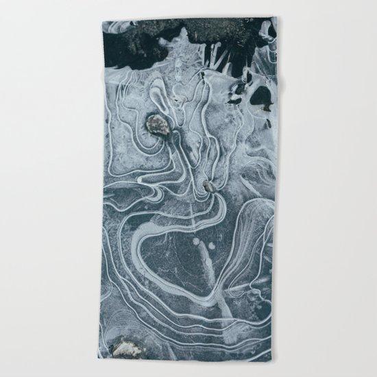 Frozen Marble Beach Towel