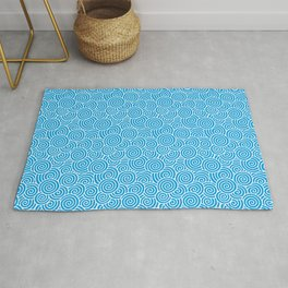 Chinese Spirals Pattern | Abstract Waves | Swirl Patterns | Circles and Swirls | Turquoise and White Rug