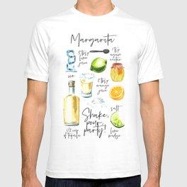 Margarita Recipe Watercolor Illustration T-shirt