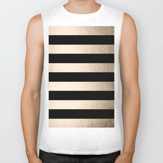 Simply Striped White Gold Sands on Midnight Black Biker Tank