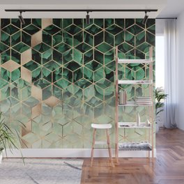 Leaves And Cubes Wall Mural