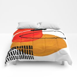Mid Century Modern Abstract Vintage Pop Art Space Age Pattern Orange Yellow Black Orbit Accent Comforters