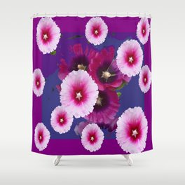 PURPLE PINK HOLLYHOCKS MODERN ART Shower Curtain