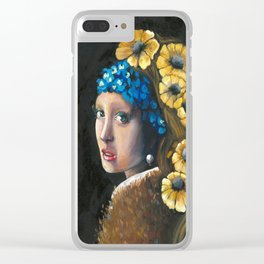 Contemporary Girl with the Pearl Earring Clear iPhone Case