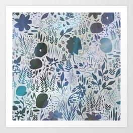 Blue Watercolour Meadow Art Print