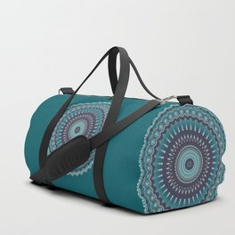 Turquoise Teal Magical Mandala Duffle Bag